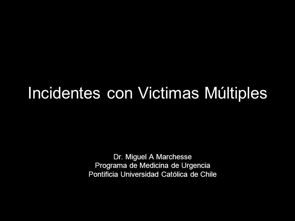 Incidentes con Victimas Múltiples Dr. Miguel A Marchesse Programa de Medicina de Urgencia Pontificia Universidad Católica de Chile