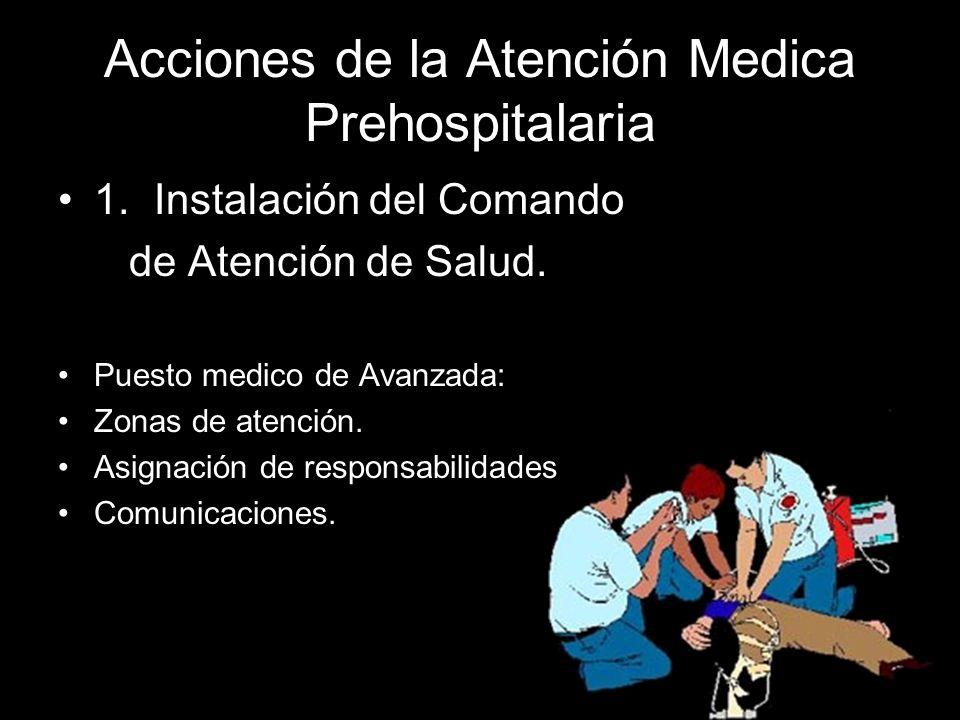 Acciones de la Atención Medica Prehospitalaria 1.Instalación del Comando de Atención de Salud. Puesto medico de Avanzada: Zonas de atención. Asignació