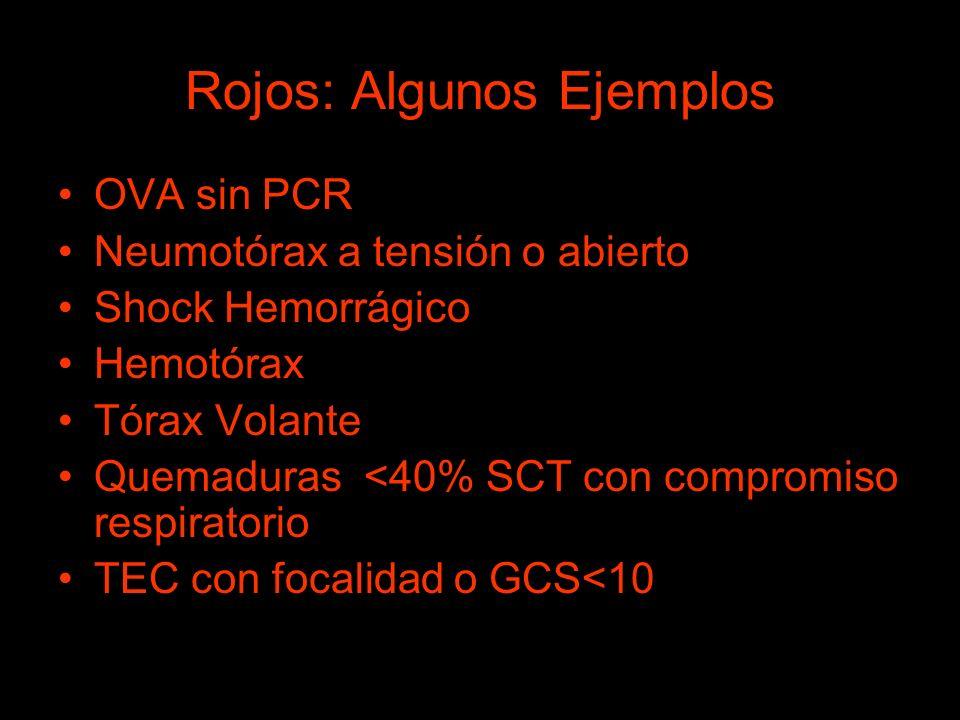 Rojos: Algunos Ejemplos OVA sin PCR Neumotórax a tensión o abierto Shock Hemorrágico Hemotórax Tórax Volante Quemaduras <40% SCT con compromiso respir