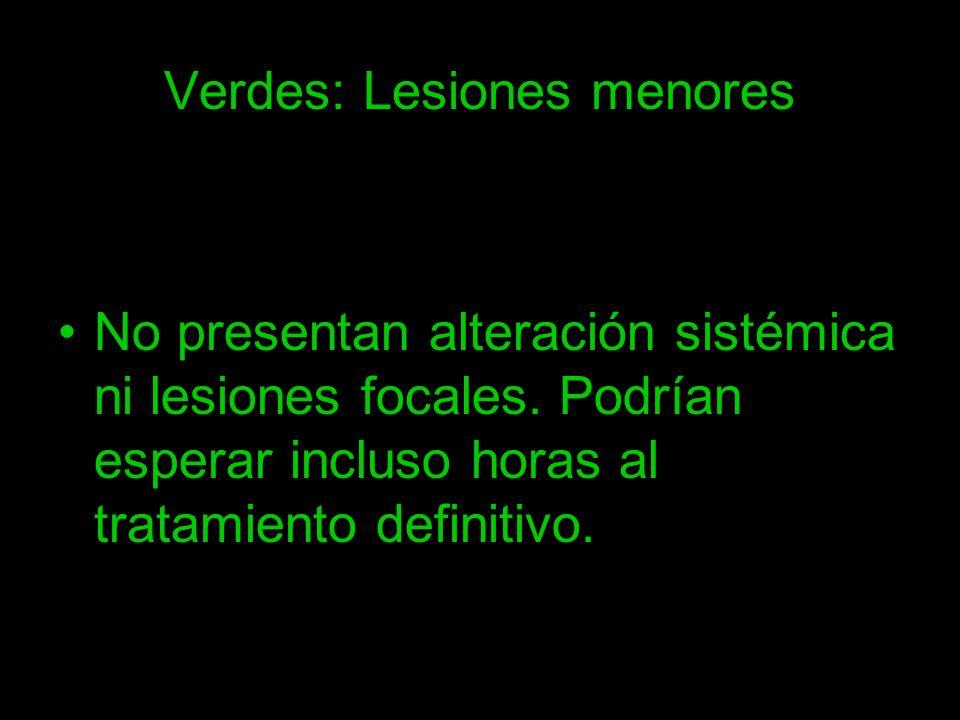 Verdes: Lesiones menores No presentan alteración sistémica ni lesiones focales. Podrían esperar incluso horas al tratamiento definitivo.