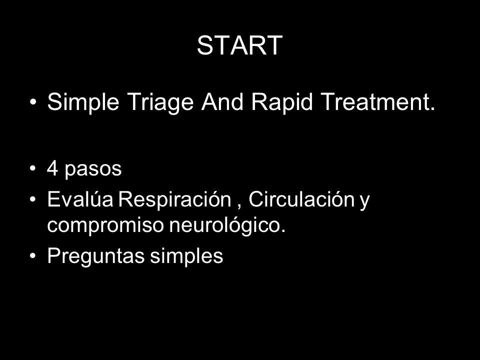 START Simple Triage And Rapid Treatment. 4 pasos Evalúa Respiración, Circulación y compromiso neurológico. Preguntas simples