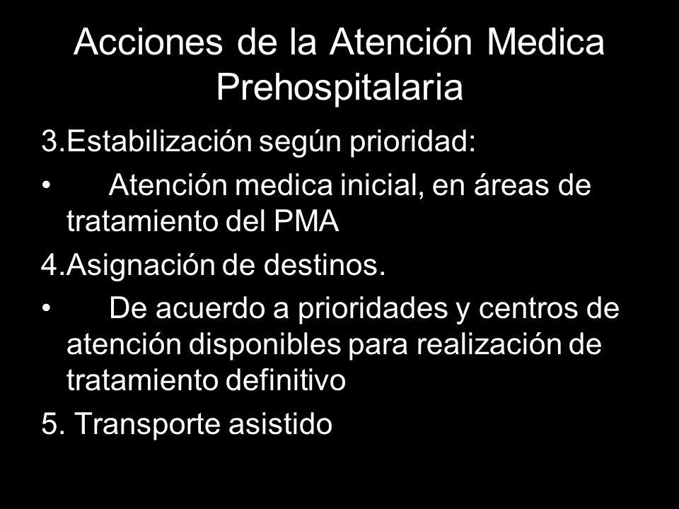 Acciones de la Atención Medica Prehospitalaria 3.Estabilización según prioridad: Atención medica inicial, en áreas de tratamiento del PMA 4.Asignación
