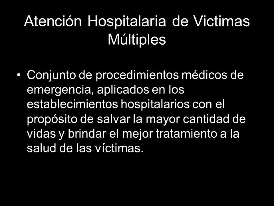 Atención Hospitalaria de Victimas Múltiples Conjunto de procedimientos médicos de emergencia, aplicados en los establecimientos hospitalarios con el p