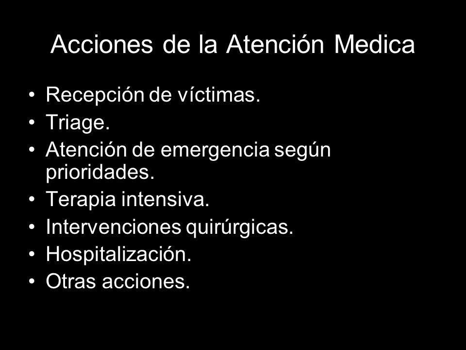 Acciones de la Atención Medica Recepción de víctimas. Triage. Atención de emergencia según prioridades. Terapia intensiva. Intervenciones quirúrgicas.