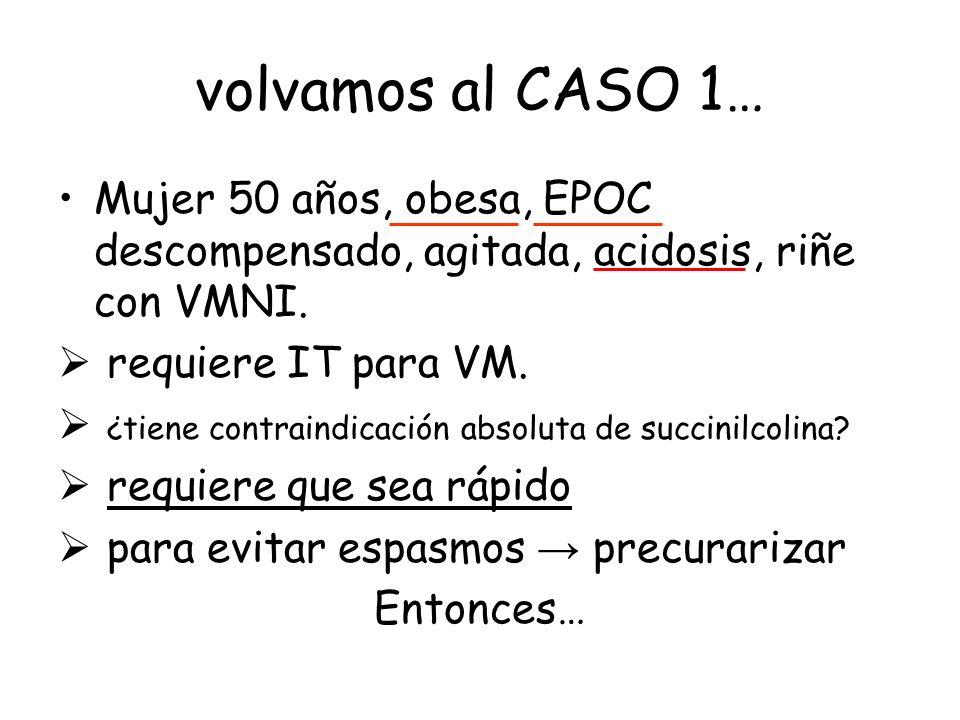 volvamos al CASO 1… Mujer 50 años, obesa, EPOC descompensado, agitada, acidosis, riñe con VMNI. requiere IT para VM. ¿tiene contraindicación absoluta
