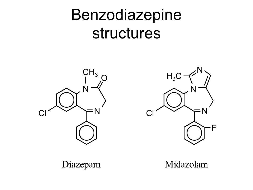 Benzodiazepine structures N Cl N O CH 3 N Cl N H3CH3C F N Diazepam Midazolam