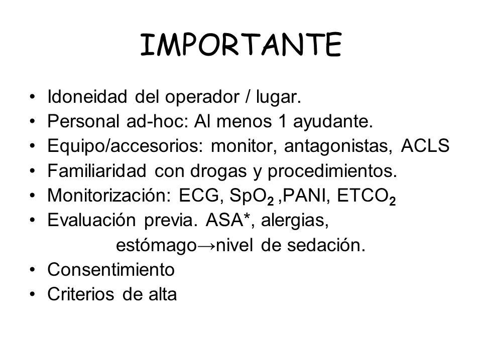 IMPORTANTE Idoneidad del operador / lugar. Personal ad-hoc: Al menos 1 ayudante. Equipo/accesorios: monitor, antagonistas, ACLS Familiaridad con droga