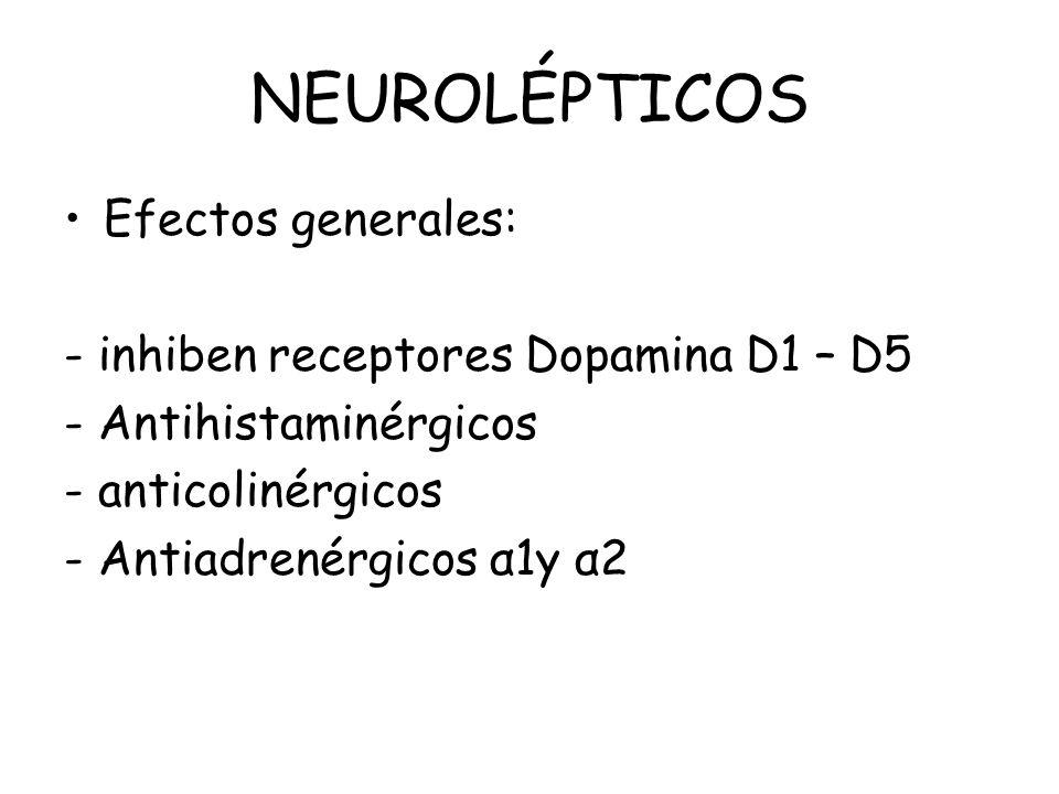NEUROLÉPTICOS Efectos generales: - inhiben receptores Dopamina D1 – D5 - Antihistaminérgicos - anticolinérgicos - Antiadrenérgicos α1y α2