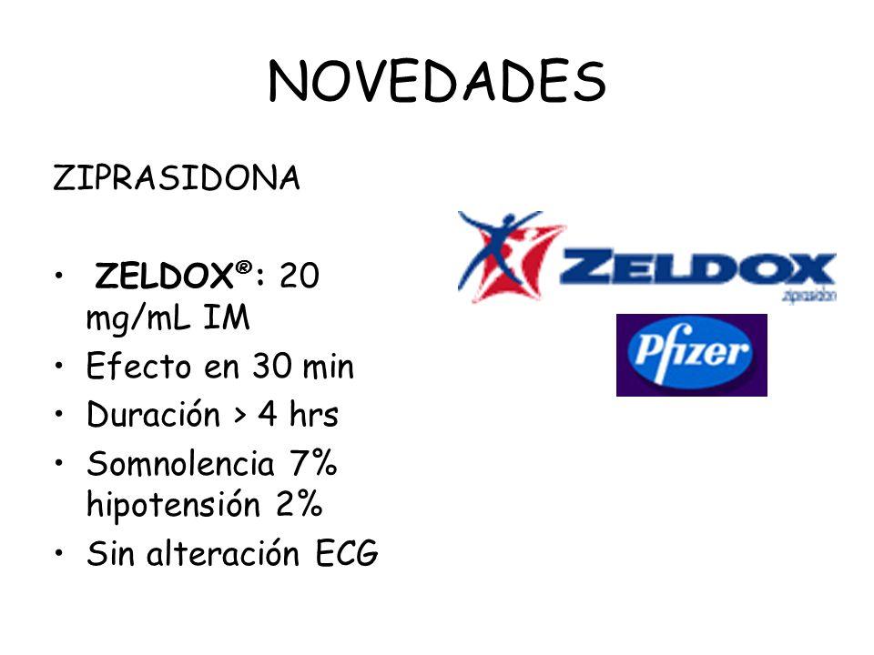 NOVEDADES ZIPRASIDONA ZELDOX ® : 20 mg/mL IM Efecto en 30 min Duración > 4 hrs Somnolencia 7% hipotensión 2% Sin alteración ECG