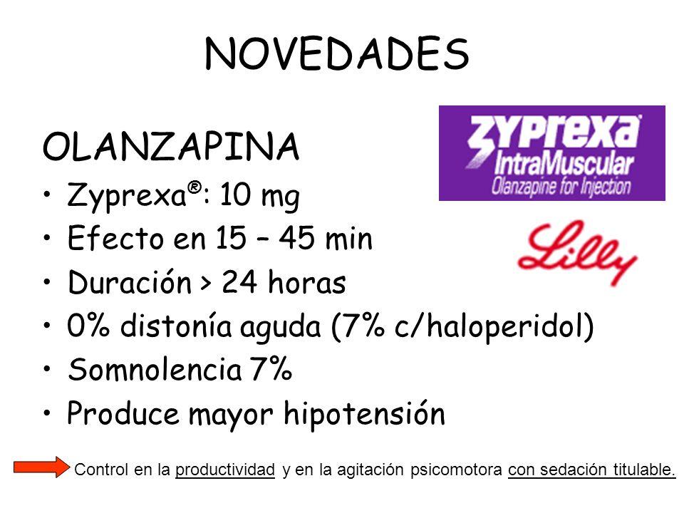OLANZAPINA Zyprexa ® : 10 mg Efecto en 15 – 45 min Duración > 24 horas 0% distonía aguda (7% c/haloperidol) Somnolencia 7% Produce mayor hipotensión C