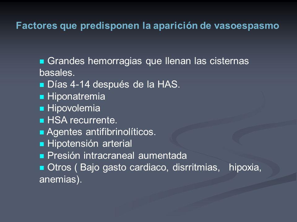 Factores que predisponen la aparición de vasoespasmo Grandes hemorragias que llenan las cisternas basales. Días 4-14 después de la HAS. Hiponatremia H