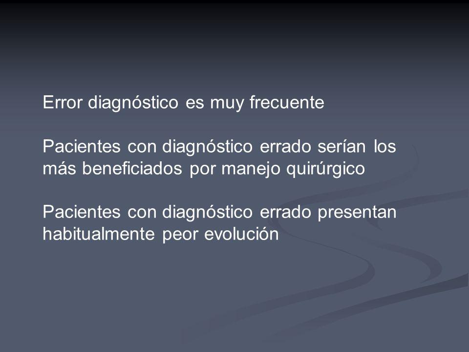 Error diagnóstico es muy frecuente Pacientes con diagnóstico errado serían los más beneficiados por manejo quirúrgico Pacientes con diagnóstico errado