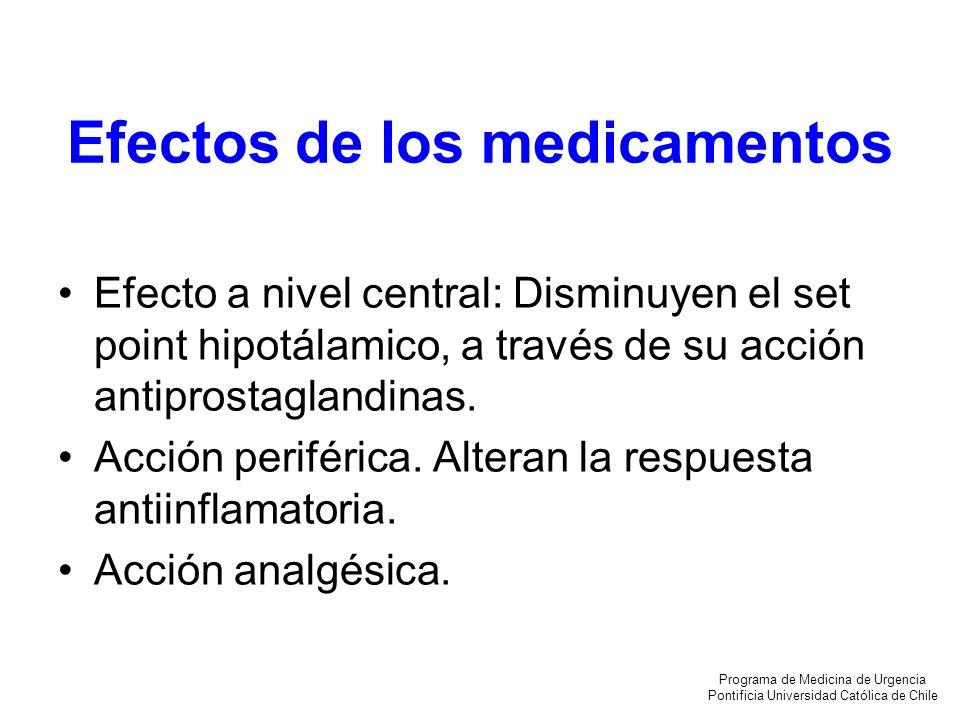 Efectos de los medicamentos Efecto a nivel central: Disminuyen el set point hipotálamico, a través de su acción antiprostaglandinas. Acción periférica