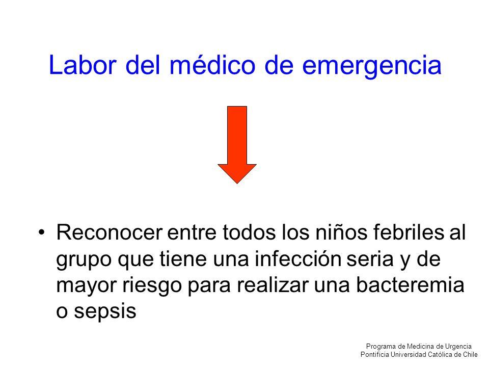 Labor del médico de emergencia Reconocer entre todos los niños febriles al grupo que tiene una infección seria y de mayor riesgo para realizar una bac