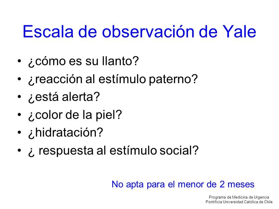Escala de observación de Yale ¿cómo es su llanto? ¿reacción al estímulo paterno? ¿está alerta? ¿color de la piel? ¿hidratación? ¿ respuesta al estímul