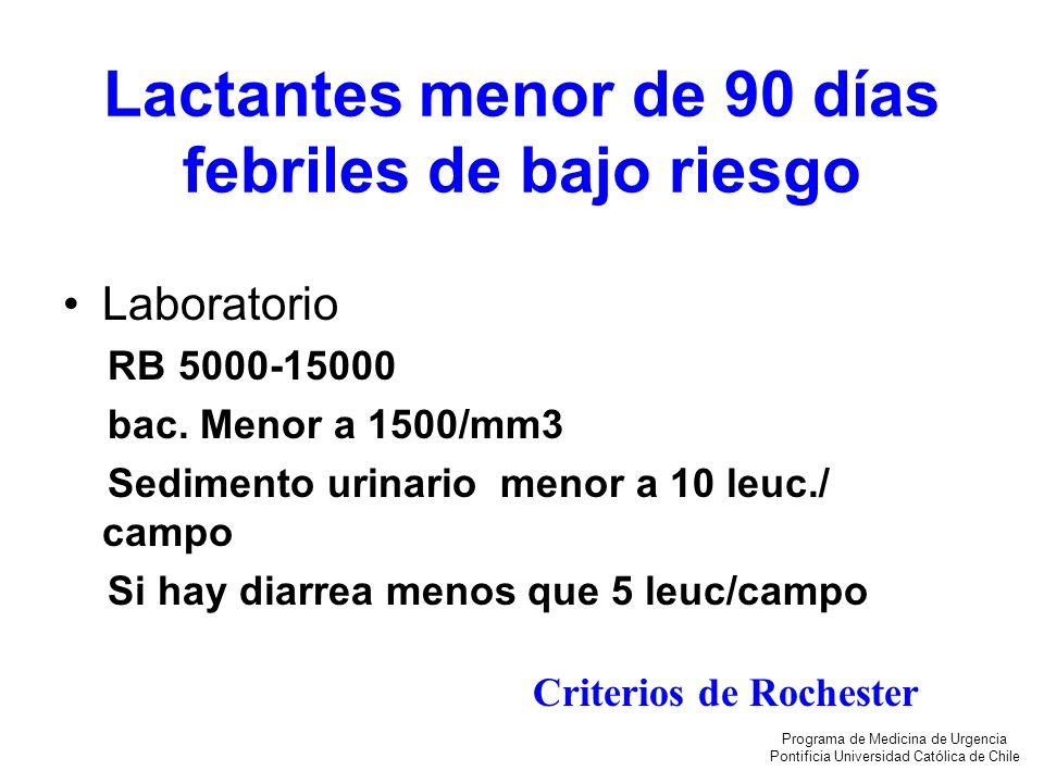Lactantes menor de 90 días febriles de bajo riesgo Laboratorio RB 5000-15000 bac. Menor a 1500/mm3 Sedimento urinario menor a 10 leuc./ campo Si hay d