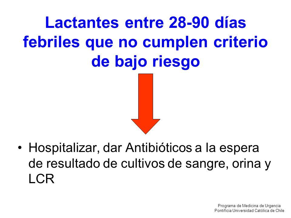 Lactantes entre 28-90 días febriles que no cumplen criterio de bajo riesgo Hospitalizar, dar Antibióticos a la espera de resultado de cultivos de sang