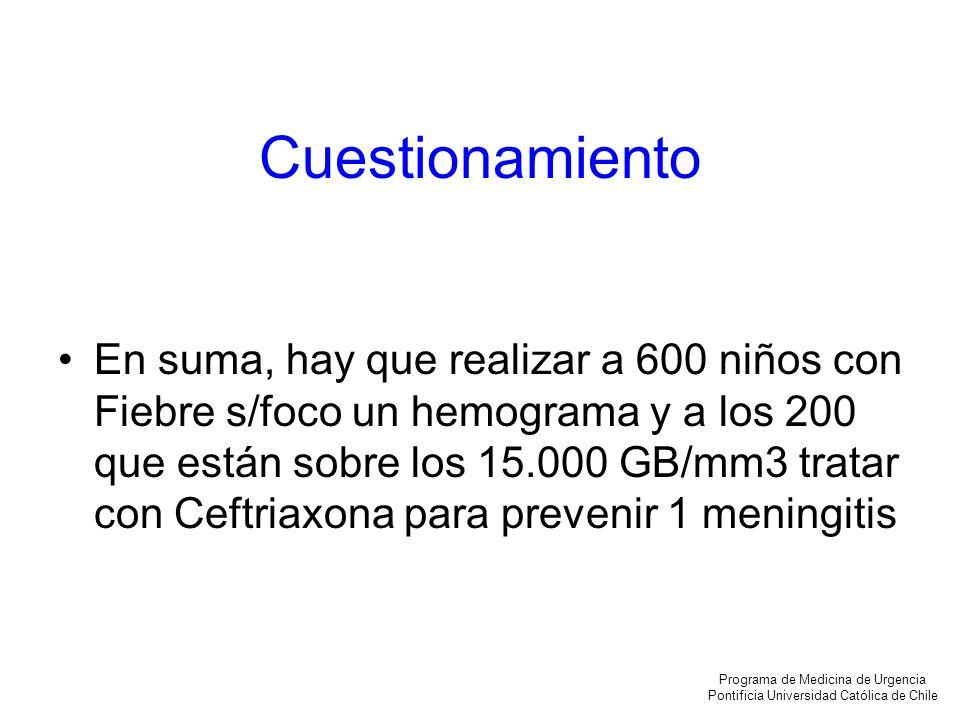 Cuestionamiento En suma, hay que realizar a 600 niños con Fiebre s/foco un hemograma y a los 200 que están sobre los 15.000 GB/mm3 tratar con Ceftriax