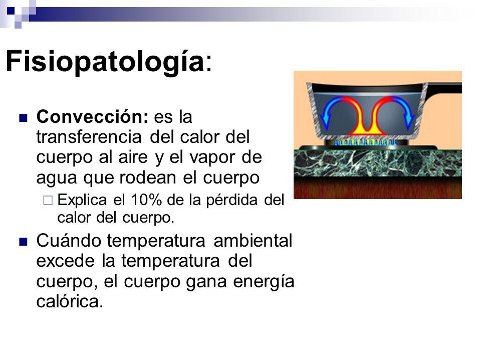 Fisiopatología: Radiación: es la transferencia del calor ondas vía electromagnéticas Explica la mayoría (65%) de las disipaciones del calor