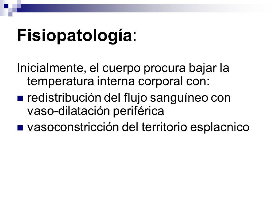 Presentación Clínica: Agotamiento por Calor (Heat Exhaustion) Temp Corporal: <104 º F (40 º C) SNC: Cefalea, fatiga, malestar, confusion, agitacion CV: Leve taquicardia, deshidratacion Pulmonar: taquipnea GI: nauseas, vomitos