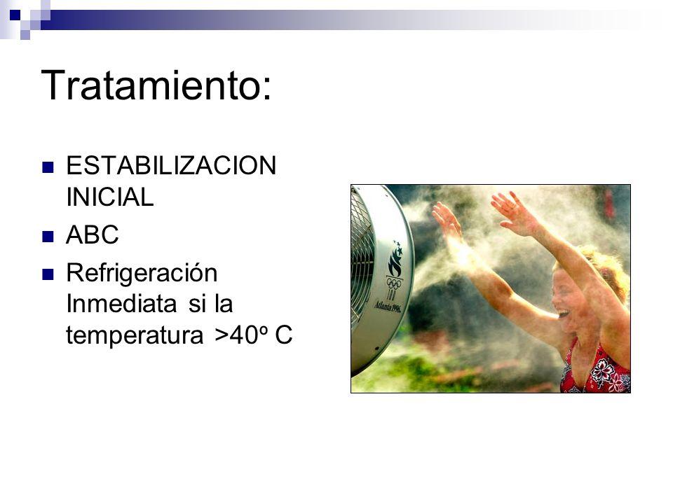 Tratamiento: Medidas Refrigerantes Inicie con temperatura corporal >40 º C Evaporativas Extremadamente efectivo (0.05-0.3º C/min) Rociar al paciente desvestido con agua tibia como niebla (evita calofríos) Flujo de aire con ventiladores sobre los pacientes