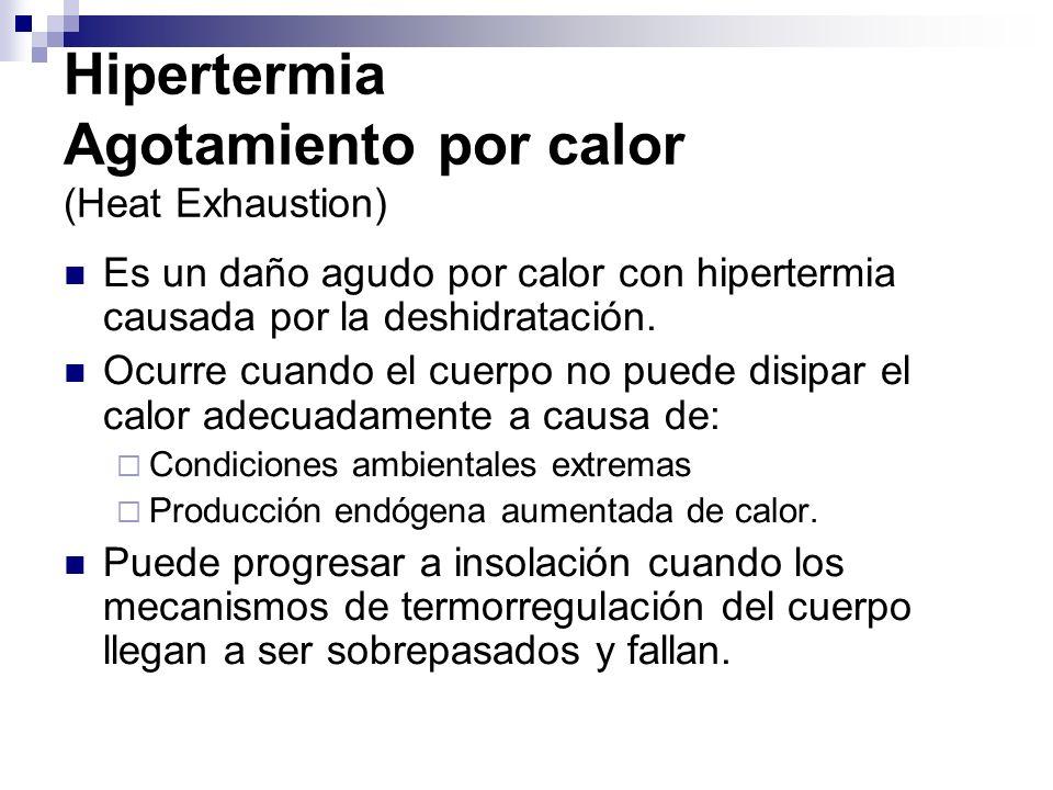 Hipertermia Insolación La insolación (Heatstroke) es hipertermia extrema con el fracaso de termorregulación.