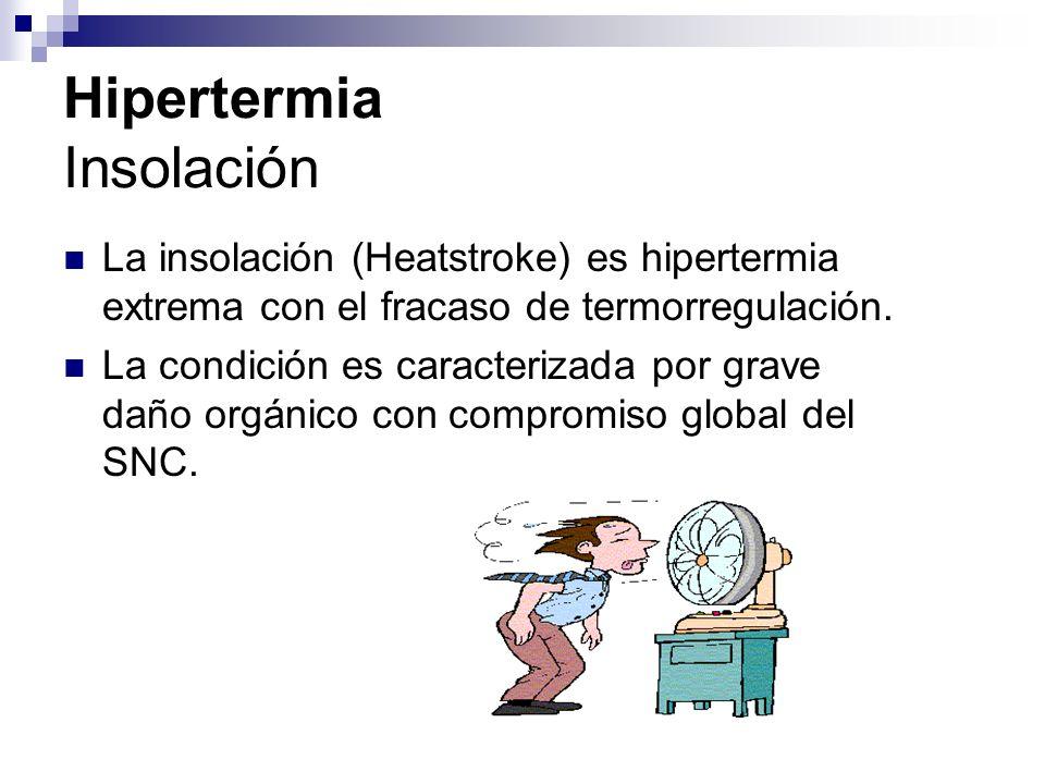 Hipertermia La insolación clásica ocurre comúnmente en: Pacientes mayores Pacientes con enfermedades crónicas que son expuestas a condiciones ambientales extremas