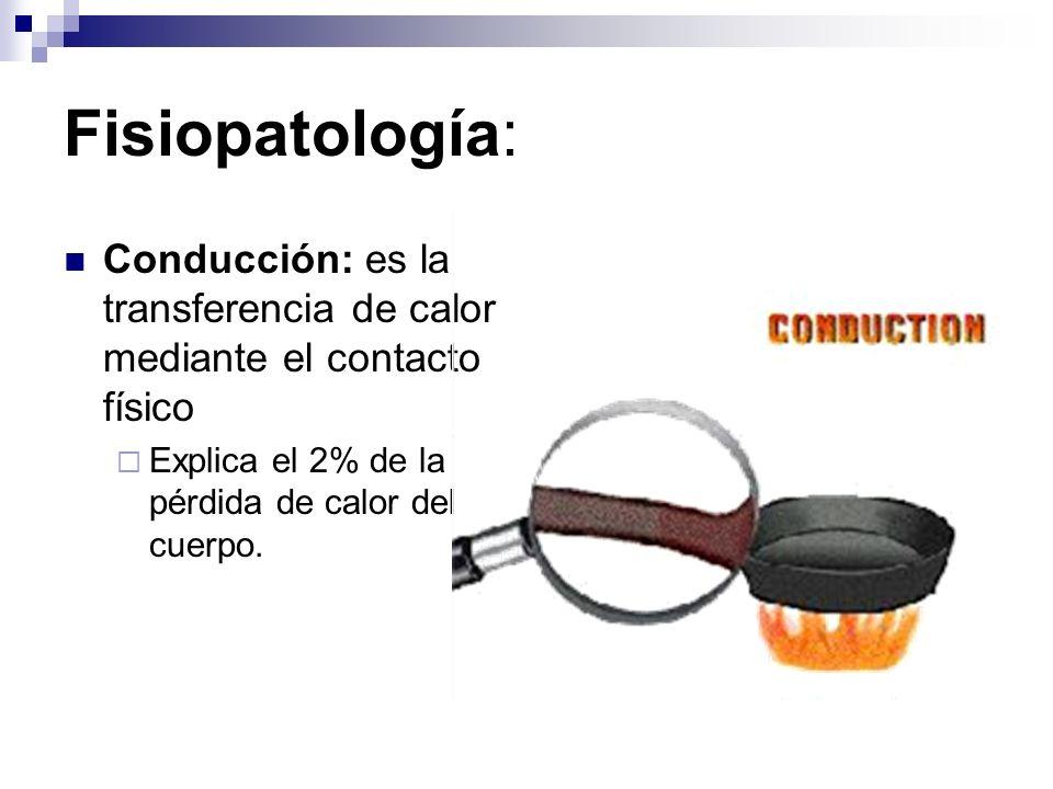 Fisiopatología: Convección: es la transferencia del calor del cuerpo al aire y el vapor de agua que rodean el cuerpo Explica el 10% de la pérdida del calor del cuerpo.
