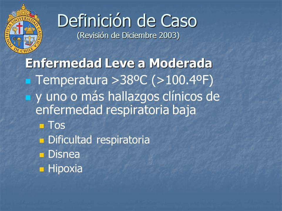 Definición de Caso (Revisión de Diciembre 2003) Enfermedad Respiratoria Severa Criterios clínicos de enfermedad Leve a Moderada y uno o más de los siguientes hallazgos: Evidencia Radiográfica de Neumonía Síndrome de Distress Respiratorio Agudo Hallazgos Necrópsico compatible con neumonía o Síndrome de Distress Respiratorio Agudo sin una causa identificable