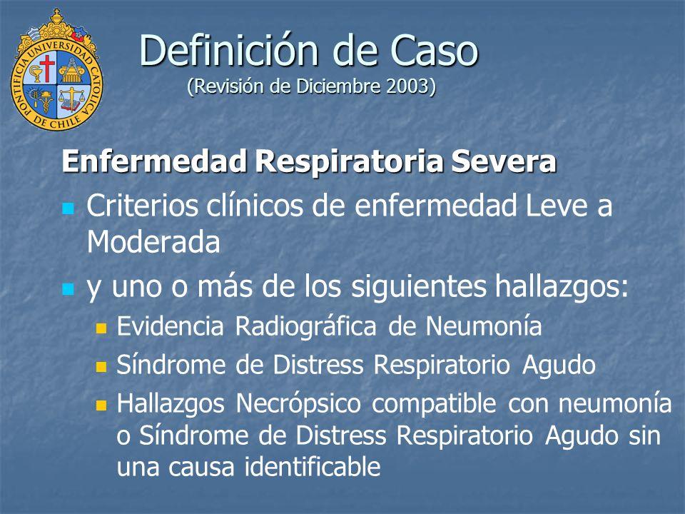 Criterios Epidemiológicos (Revisión de Diciembre 2003) Posible exposición a coronavirus asociado a SARS (SARS-CoV) Haber estado expuesto en los 10 días previos al inicio de los síntomas a uno o más de los siguientes hallazgos: Viaje a localidad doméstica o extranjera con reciente transmisión de SARS-CoV, sospechosa o documentada Contacto cercano con persona portadora de enfermedad respiratoria mediana a moderada o enfermedad respiratoria severa e historia de viaje en los 10 días previos al inicio de la enfermedad a localidad doméstica o extranjera con reciente transmisión de SARS-CoV, sospechosa o documentada