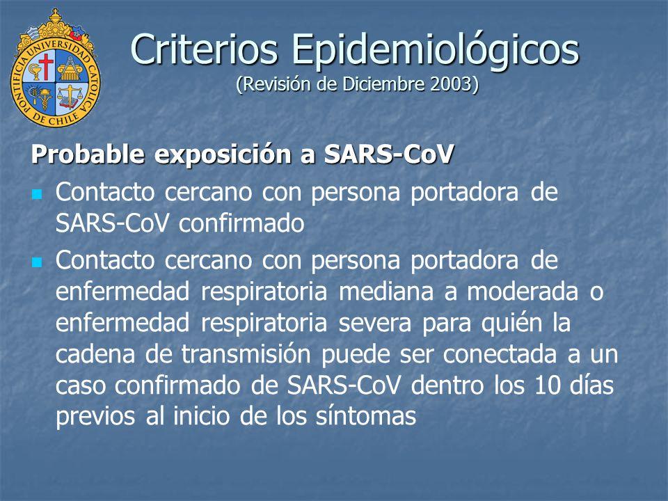 Criterios Epidemiológicos (Revisión de Diciembre 2003) Probable exposición a SARS-CoV Contacto cercano con persona portadora de SARS-CoV confirmado Co