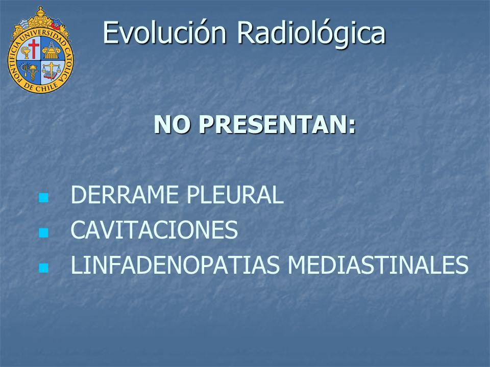 NO PRESENTAN: DERRAME PLEURAL CAVITACIONES LINFADENOPATIAS MEDIASTINALES Evolución Radiológica