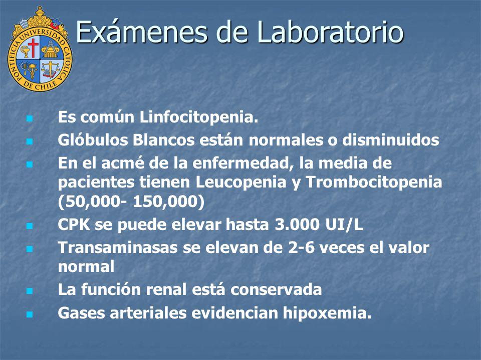 Es común Linfocitopenia. Glóbulos Blancos están normales o disminuidos En el acmé de la enfermedad, la media de pacientes tienen Leucopenia y Tromboci