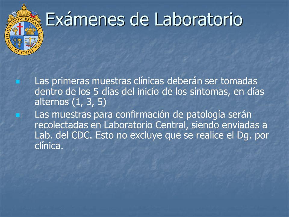 Las primeras muestras clínicas deberán ser tomadas dentro de los 5 días del inicio de los síntomas, en días alternos (1, 3, 5) Las muestras para confi