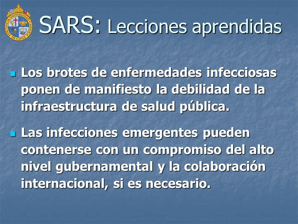 SARS: Lecciones aprendidas Los brotes de enfermedades infecciosas ponen de manifiesto la debilidad de la infraestructura de salud pública. Los brotes