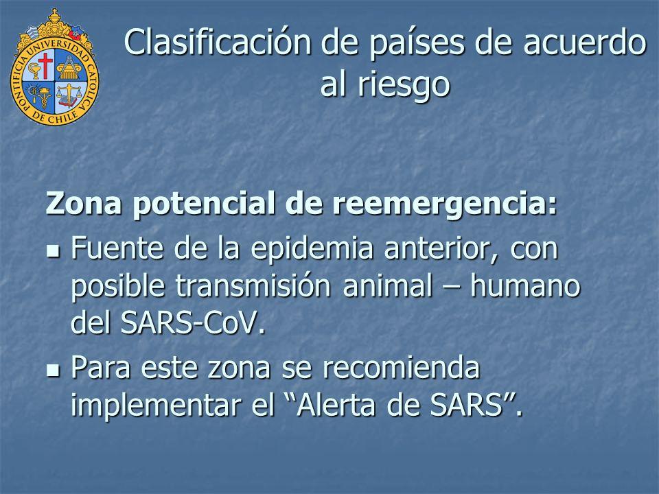 Clasificación de países de acuerdo al riesgo Zona potencial de reemergencia: Fuente de la epidemia anterior, con posible transmisión animal – humano d