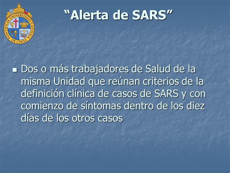 Alerta de SARS Enfermedad que reúna criterios de la definición clínica de casos de SARS adquirida en el hospital en la misma Unidad por 3 o más personas, trabajadores de salud, otros empleados hospitalarios, pacientes o visitas y con comienzo de síntomas dentro de los 10 días de los otros.