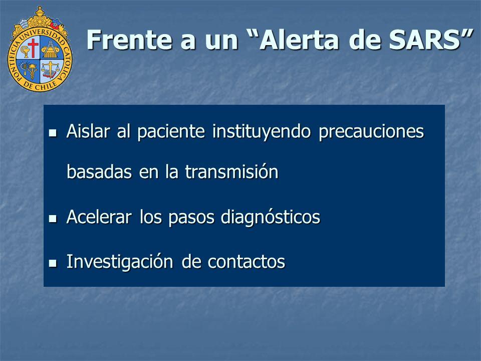 Frente a un Alerta de SARS Aislar al paciente instituyendo precauciones basadas en la transmisión Aislar al paciente instituyendo precauciones basadas
