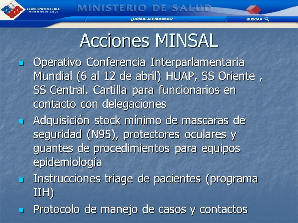 Acciones MINSAL Operativo Conferencia Interparlamentaria Mundial (6 al 12 de abril) HUAP, SS Oriente, SS Central. Cartilla para funcionarios en contac