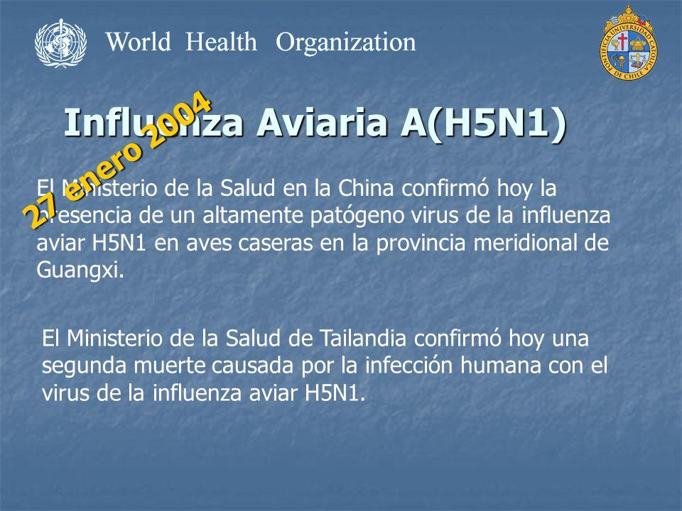 Influenza Aviaria A(H5N1) El Ministerio de la Salud en la China confirmó hoy la presencia de un altamente patógeno virus de la influenza aviar H5N1 en