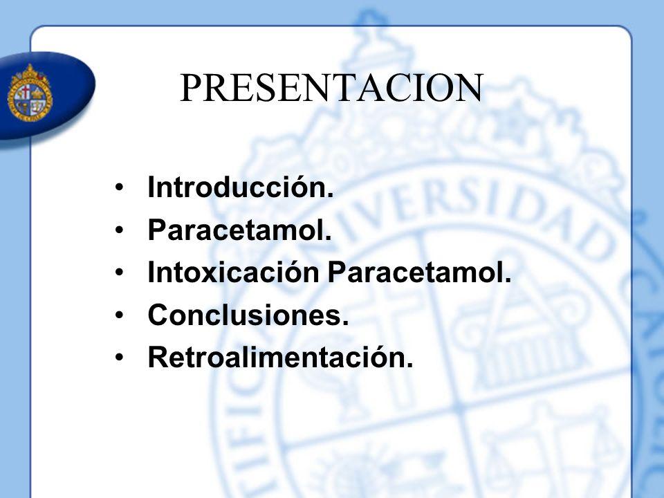 PRESENTACION Introducción. Paracetamol. Intoxicación Paracetamol. Conclusiones. Retroalimentación.