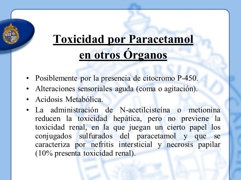 Toxicidad por Paracetamol en otros Órganos Posiblemente por la presencia de citocromo P-450. Alteraciones sensoriales aguda (coma o agitación). Acidos