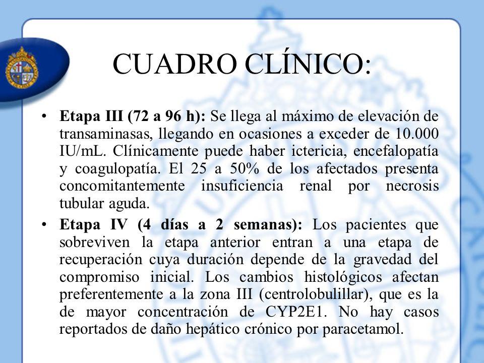 CUADRO CLÍNICO: Etapa III (72 a 96 h): Se llega al máximo de elevación de transaminasas, llegando en ocasiones a exceder de 10.000 IU/mL. Clínicamente