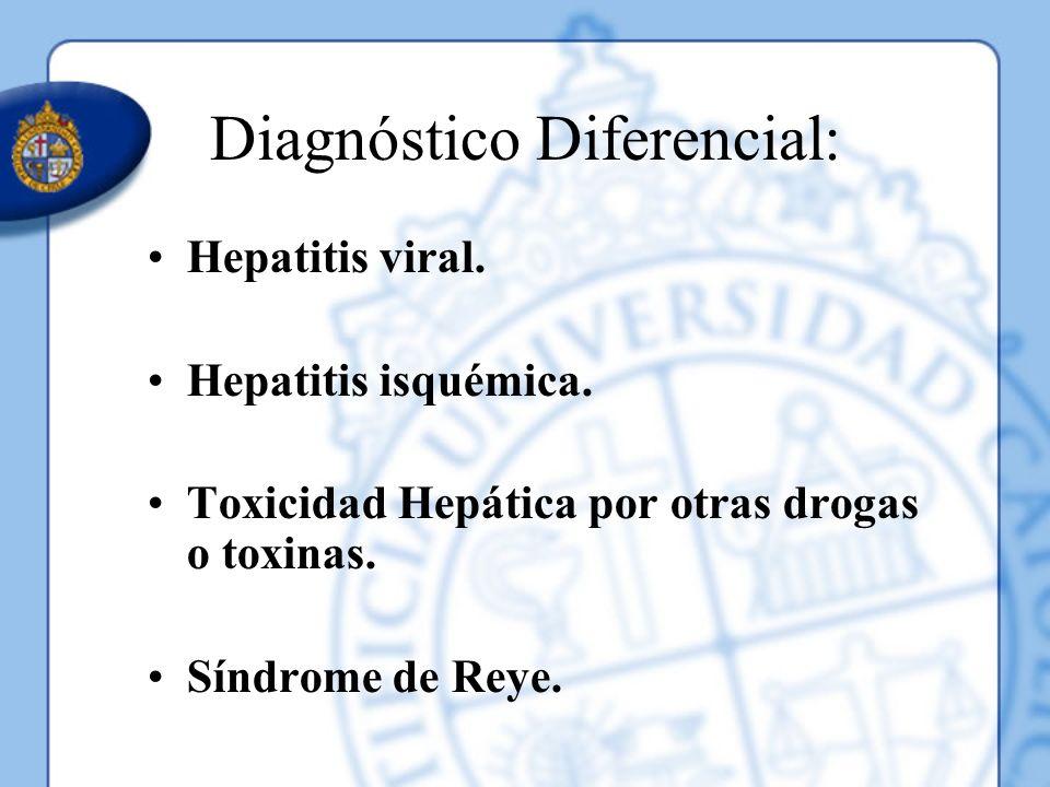 Diagnóstico Diferencial: Hepatitis viral. Hepatitis isquémica. Toxicidad Hepática por otras drogas o toxinas. Síndrome de Reye.