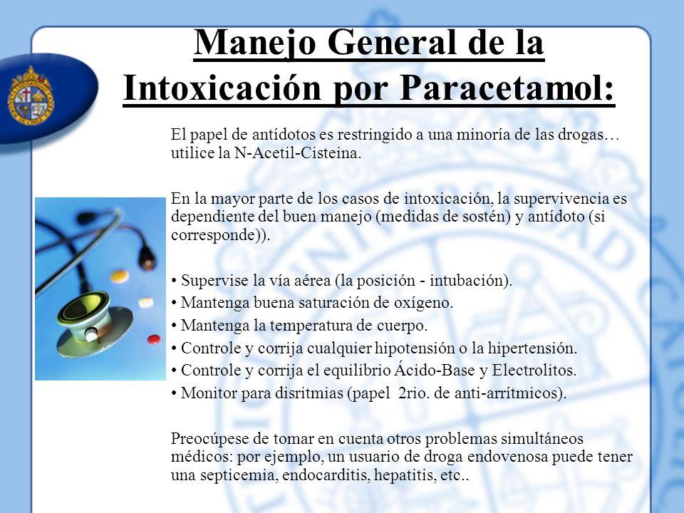 Manejo General de la Intoxicación por Paracetamol: El papel de antídotos es restringido a una minoría de las drogas… utilice la N-Acetil-Cisteina. En