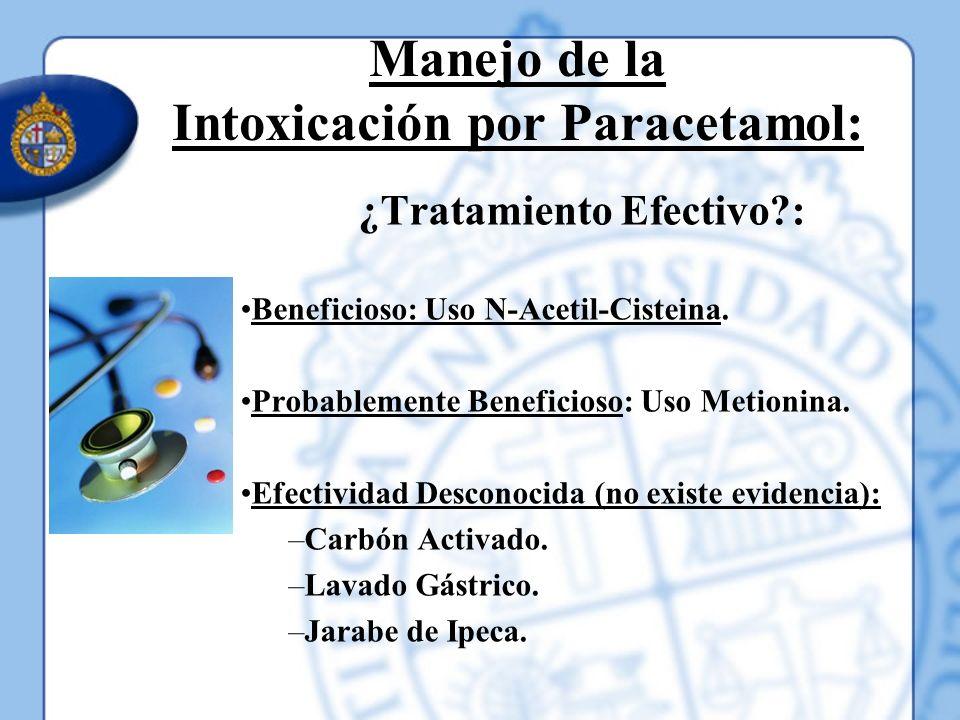 Manejo de la Intoxicación por Paracetamol: ¿Tratamiento Efectivo?: Beneficioso: Uso N-Acetil-Cisteina. Probablemente Beneficioso: Uso Metionina. Efect