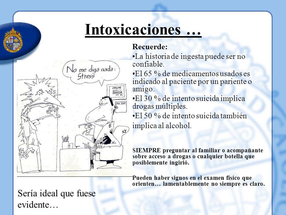 Intoxicaciones … Recuerde: La historia de ingesta puede ser no confiable. El 65 % de medicamentos usados es indicado al paciente por un pariente o ami