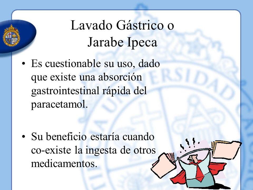 Lavado Gástrico o Jarabe Ipeca Es cuestionable su uso, dado que existe una absorción gastrointestinal rápida del paracetamol. Su beneficio estaría cua