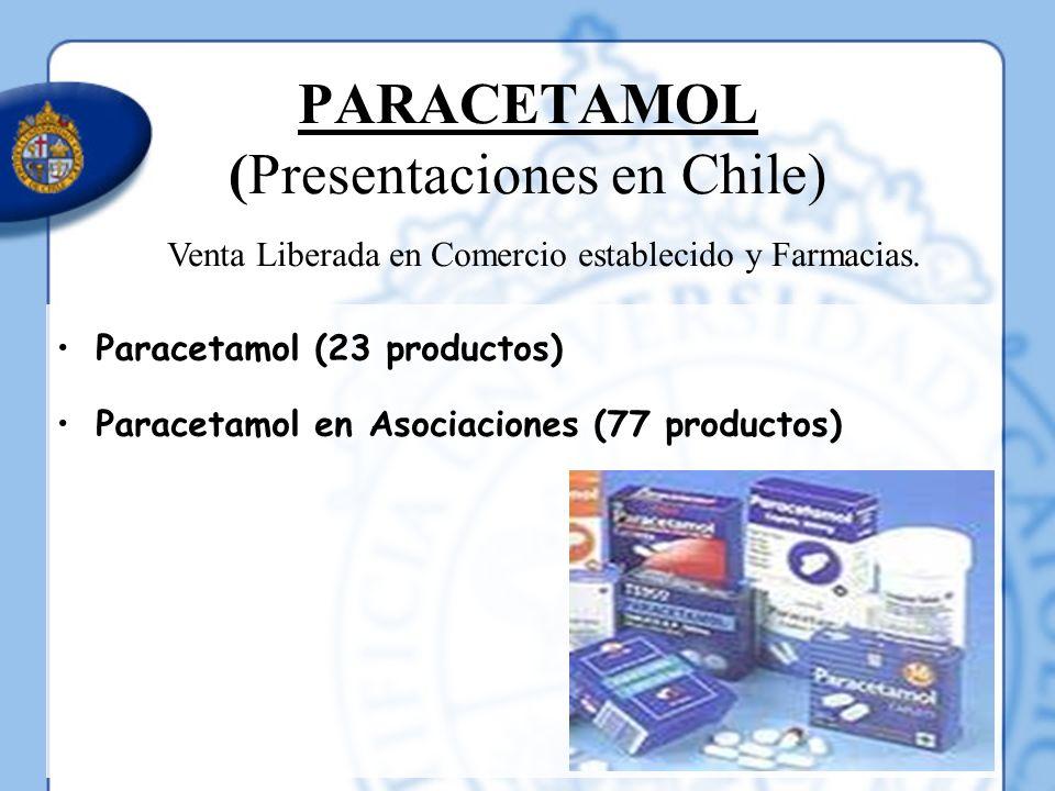 PARACETAMOL (Presentaciones en Chile) Paracetamol (23 productos) Paracetamol en Asociaciones (77 productos) Venta Liberada en Comercio establecido y F