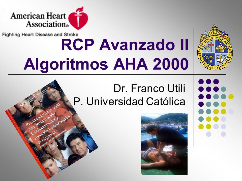 RCP Avanzado II Algoritmos AHA 2000 Dr. Franco Utili P. Universidad Católica